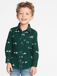 Printed Pocket Shirt for Toddler Boys