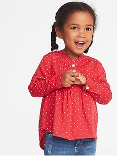Mandarin-Collar Pintuck Tunic for Toddler Girls
