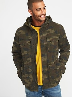 Built-In Flex Stowaway-Hood Camo Military Jacket for Men