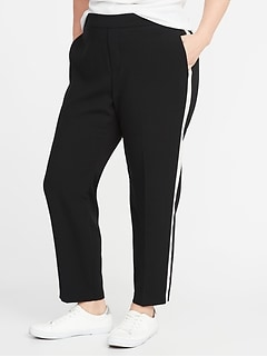 Mid-Rise Secret-Slim Pockets Plus-Size Side-Stripe Pants