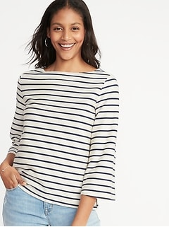 9bf66f17c265 Textured Boat-Neck Top for Women