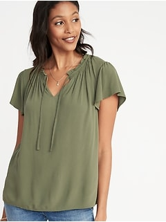 Relaxed Ruffle-Trim Crepe Top for Women