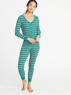 Patterned Thermal-Knit One-Piece PJs for Women