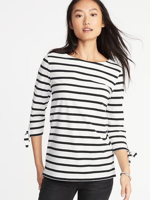 Relaxed Tie-Sleeve Boat-Neck Top for Women