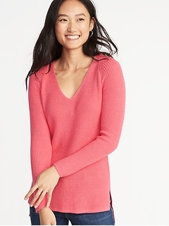 3c55726a84 Shaker-Stitch V-Neck Sweater for Women