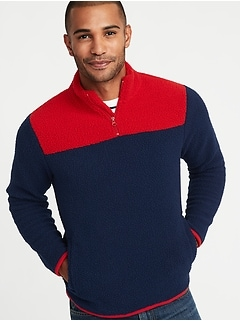 Color-Blocked 1/4-Zip Sherpa Popover for Men