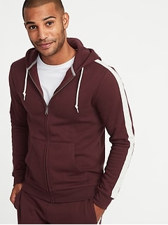 Striped-Sleeve Zip Hoodie for Men