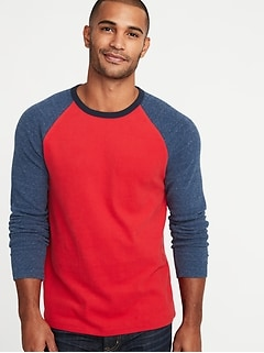 Soft-Washed Plush-Knit Raglan Tee for Men