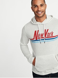 """New York"" Graphic Lightweight Pullover Hoodie for Men"