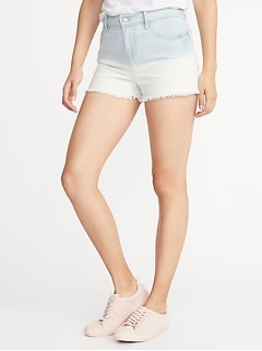 Mid-Rise Boyfriend Dip-Dye Denim Cut-Offs for Women - 2.5-inch inseam