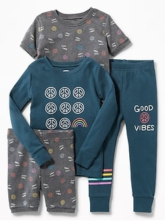"""Good Vibes"" 4-Piece Sleep Set for Toddler & Baby"