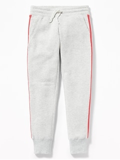 Relaxed Fleece Side-Stripe Joggers for Girls