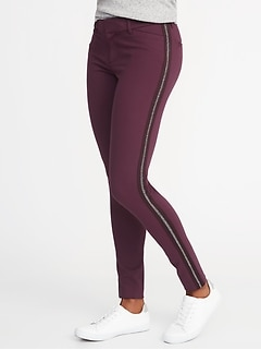 Mid-Rise Side-Stripe Pixie Full-Length Pants for Women