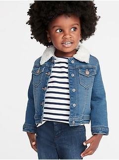 Sherpa-Lined Denim Trucker Jacket for Toddler Girls