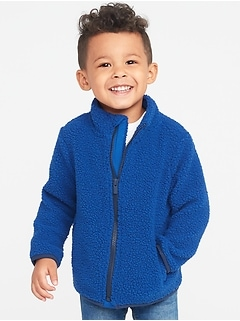 Mock-Neck Sherpa Zip Jacket for Toddler Boys