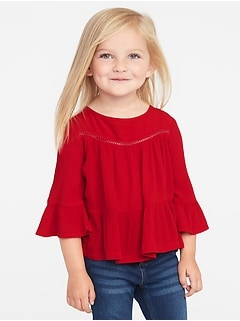 Crinkle-Gauze Flutter-Sleeve Top for Toddler Girls