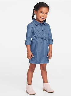 Chambray Shirt Dress for Toddler Girls