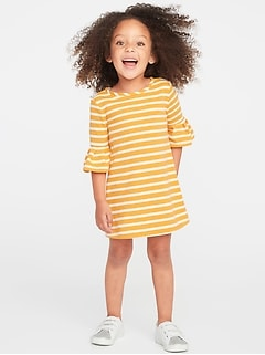 French-Terry Ruffle-Sleeve Shift Dress for Toddler Girls