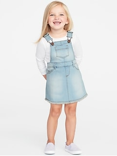 Raw-Edge Denim Skirtalls for Toddler Girls