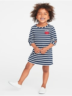 French-Terry Valentine-Print Shift Dress for Toddler Girls