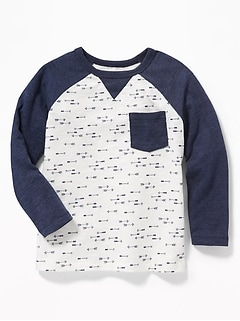 Arrow-Print Raglan Pocket Tee for Toddler Boys