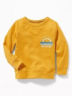 Graphic Crew-Neck Raglan Sweatshirt for Toddler Boys