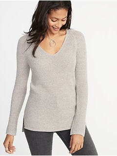 Shaker-Stitch V-Neck Sweater for Women