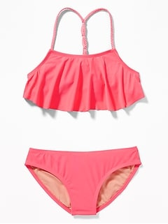 Ruffled Braided-Strap Bikini for Girls