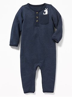 French-Terry Henley One-Piece for Baby