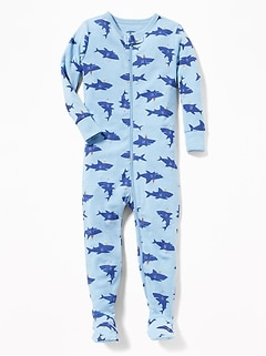 Shark-Print Footed Sleeper For Toddler & Baby