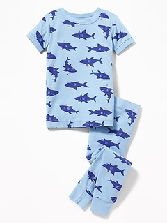 Shark-Print Sleep Set For Toddler Boys & Baby