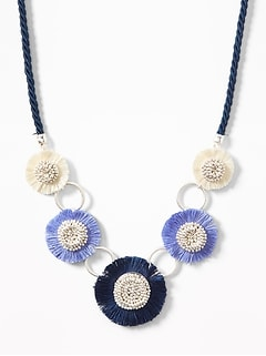 Braided Cord Tassel-Flower Statement Necklace for Women