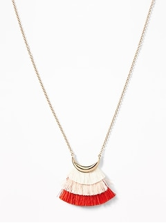 Tiered Tassel Pendant Necklace for Women