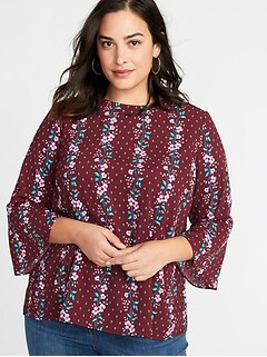Printed Plus-Size Boho Swing Top