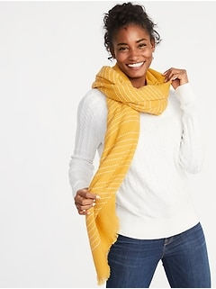 Fringed Textured-Stripe Scarf for Women