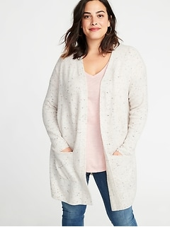 Pop-Color Yarn Long-Line Open-Front Plus-Size Sweater