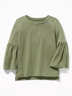 Plush-Knit Bell-Sleeve Top for Girls