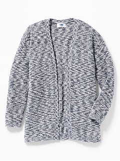 Marled Shaker-Stitch Open-Front Sweater for Girls
