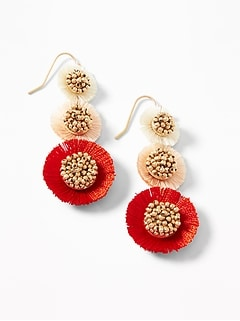 Tiered Tassel Flower Drop Earrings for Women