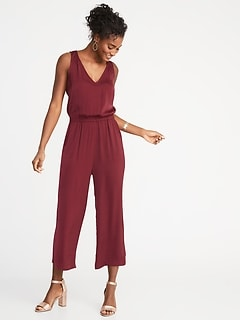Waist-Defined Sleeveless Wide-Leg Jumpsuit for Women