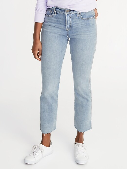 High-Rise Secret-Slim Pockets Raw-Edged Flare Ankle Jeans for Women