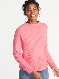 Mock-Neck Rib-Knit Sweater for Women