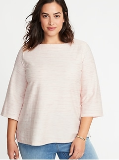 Plus-Size Textured Boat-Neck Top