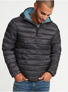 Water-Resistant Quilted 1/4-Zip Hooded Jacket for Men