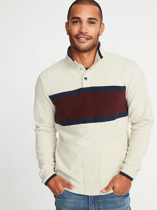 Micro Performance Fleece Color-Blocked Pullover for Men