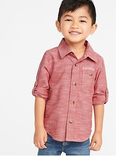 Graphic Roll-Sleeve Pocket Shirt for Toddler Boys