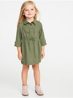 Cinched-Waist Utility Shirt Dress for Toddler Girls