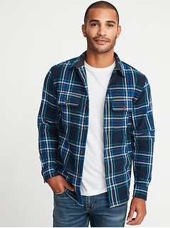 Regular-Fit Flannel Shirt for Men