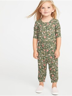Floral Cinched-Waist Jumpsuit for Toddler Girls