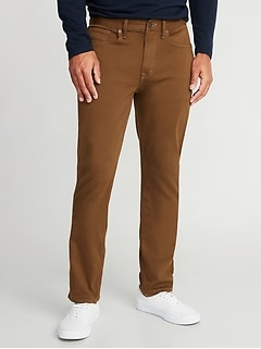 Slim Built-In Warm Five-Pocket Twill Pants for Men